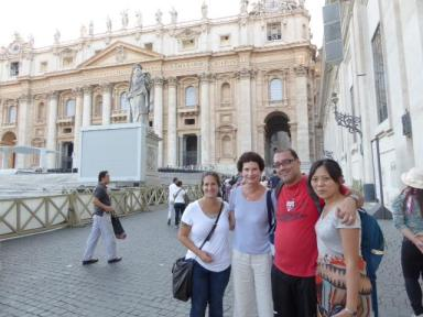 Some students went on a 15 mile (25 km) pilgrimage in Rome